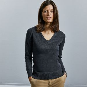 Russell Collection - Women's V-Neck Knitted Sweater - J710F