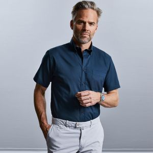 Russell Collection - Men's Short Sleeve Classic Twill Shirt - J917M