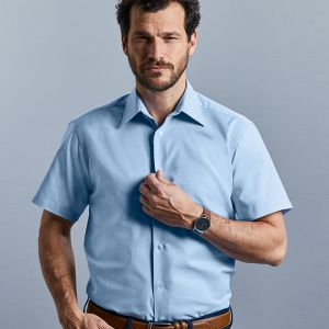 Russell Collection - Men's Short Sleeve Easy Care Tailored Oxford Shirt - J923M