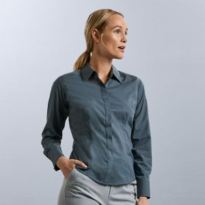 Russell Collection - Women's Long Sleeve Poly/Cotton Fitted Poplin Shirt - J924F