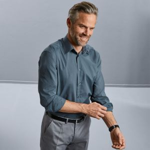 Russell Collection - Men's Long Sleeve Poly/Cotton Tailored Poplin Shirt - J924M