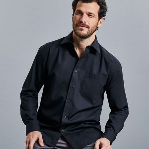 Russell Collection - Men's Long Sleeve Pure Cotton Easy Care Poplin Shirt - J936M