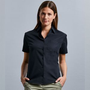 Russell Collection - Women's Short Sleeve Pure Cotton Easy Care Poplin Shirt - J937F