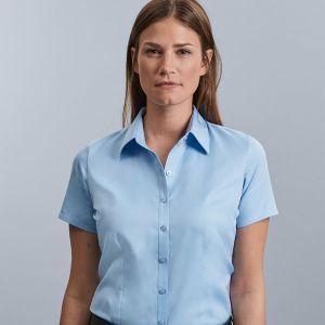Russell Collection - Women's Short Sleeve Herringbone Shirt - J963F
