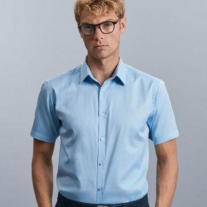 Russell Collection - Men's Short Sleeve Herringbone Shirt - J963M