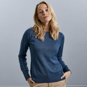 Russell Collection - Ladies Cotton Acrylic Crew Neck Sweater - J717F