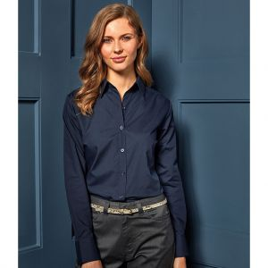 Premier - Ladies Long Sleeve Poplin Shirt - PR300