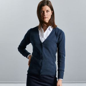 Russell Collection - Women's V-Neck Knitted Cardigan - J715F