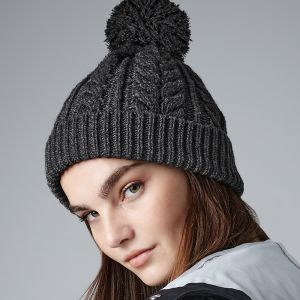 Beechfield - Cable Knit Snowstar Pom Pom Beanie - BB454