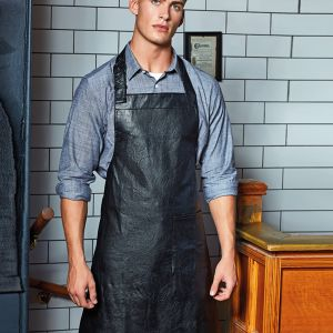 Premier - Faux Leather Bib Apron - PR139