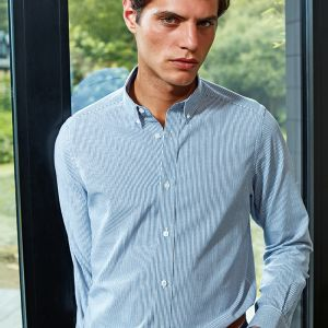Premier - Long Sleeve Striped Oxford Shirt - PR238