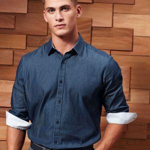 Premier - Long Sleeve Denim-Pindot Shirt - PR259