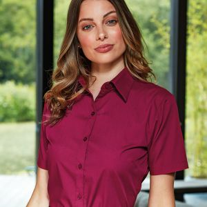 Premier - Ladies Short Sleeve Poplin Blouse - PR302