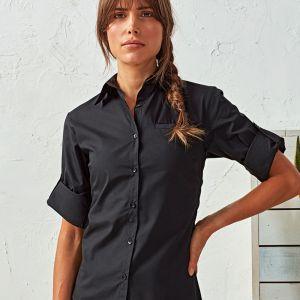 Premier - Ladies 'Roll Sleeve' Poplin Blouse - PR306
