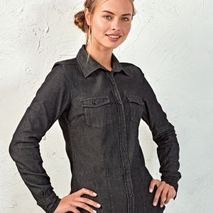 Premier - Ladies Jeans Stitch Denim Shirt - PR322