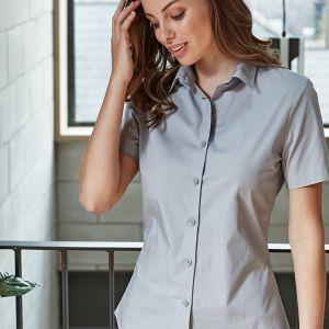 Premier - Ladies Short Sleeve Stretch Fit Poplin Shirt - PR346