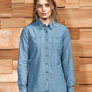 Premier - Ladies Organic Fairtrade Certified Long Sleeve Chambray Shirt - PR347