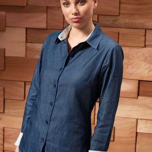 Premier - Ladies Long Sleeve Denim-Pindot Shirt - PR359