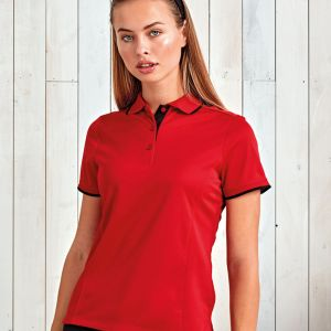 Premier - Ladies Contrast Coolchecker Polo Shirt - PR619