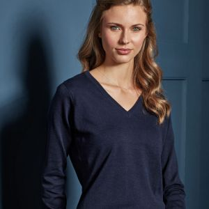 Premier - Ladies Knitted Cotton Acrylic V Neck Sweater - PR696