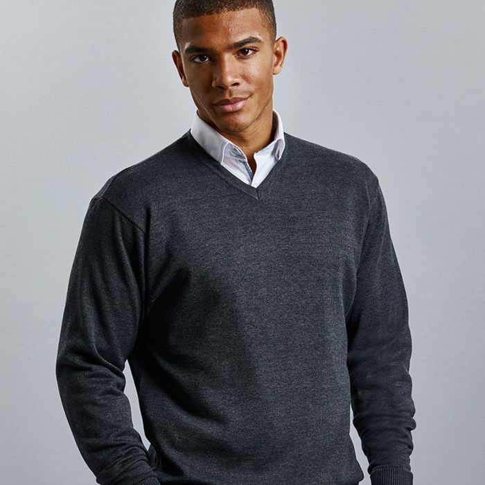 Russell Collection - V-Neck Knitted Sweater - J710M