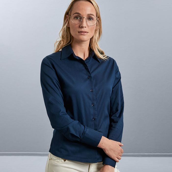 Russell Collection - Women's Long Sleeve Classic Twill Shirt - J916F