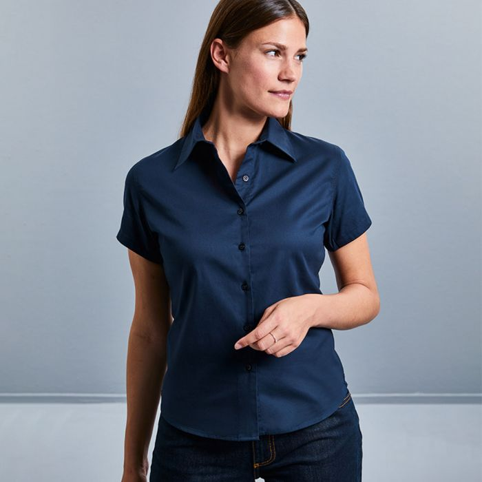 Russell Collection - Women's Short Sleeve Classic Twill Shirt - J917F