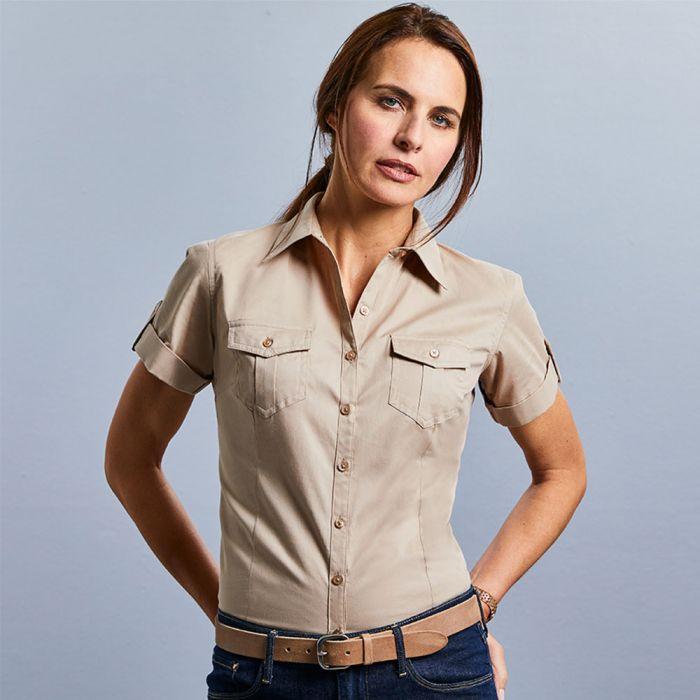 Russell Collection - Women's Roll Sleeve Shirt - Short Sleeve - J919F