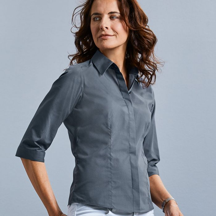 Russell Collection - Women's 3/4 Sleeve Poly/Cotton Poplin Shirt - J926F
