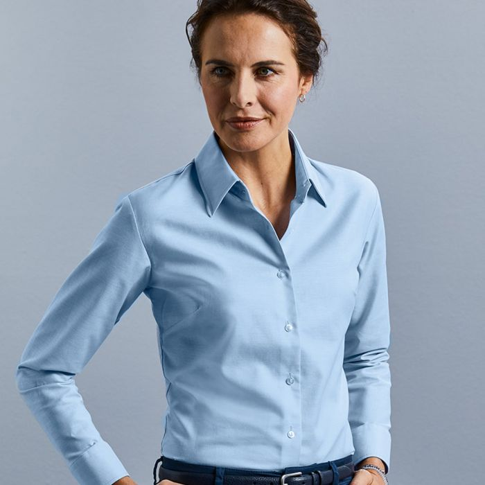 Russell Collection - Women's Long Sleeve Easy Care Oxford Shirt - J932F