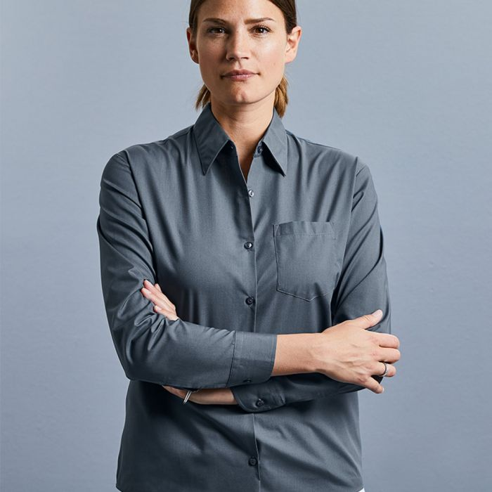 Russell Collection - Women's Long Sleeve Poly/Cotton Poplin Shirt - J934F