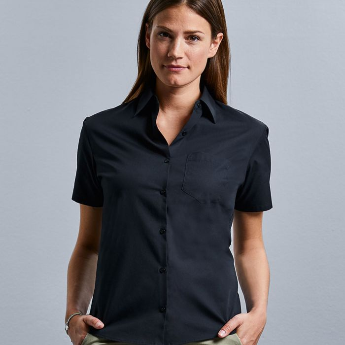 Russell Collection - Women's Long Sleeve Pure Cotton Easy Care Poplin Shirt - J936F