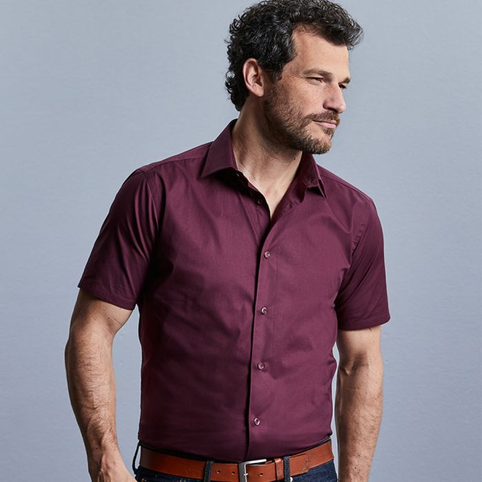 Russell Collection - Men's Short Sleeve Easy Care Fitted Shirt - J947M