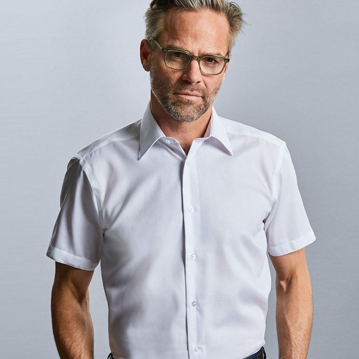 Russell Collection - Men's Short Sleeve Tailored Ultimate Non-Iron Shirt - J959M
