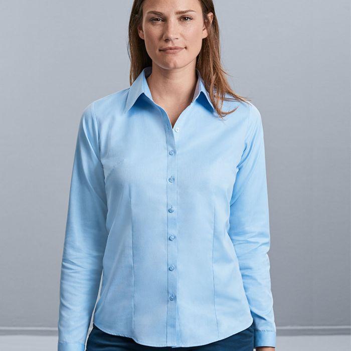 Russell Collection - Women's Long Sleeve Herringbone Shirt - J962F