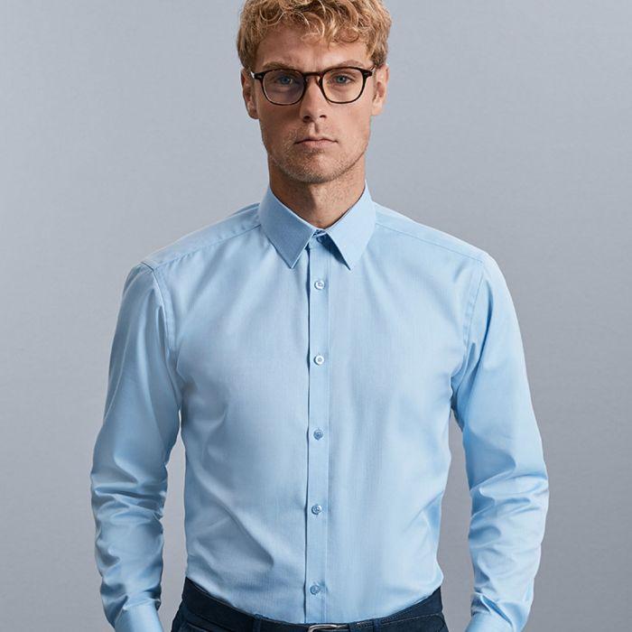 Russell Collection - Men's Long Sleeve Herringbone Shirt - J962M