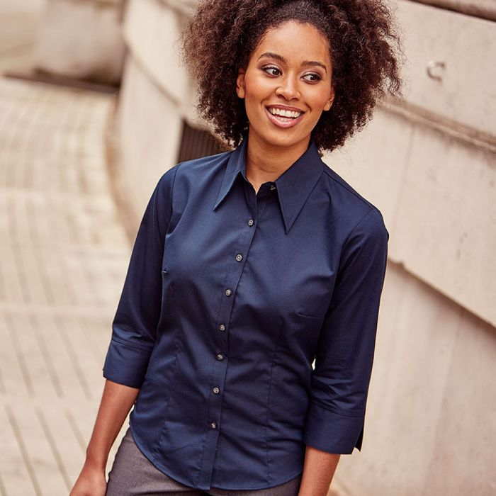Russell Collection - Women's 3/4 Sleeve Tencel Fitted Shirt - J954F