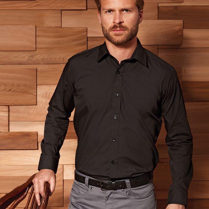 Premier - Long Sleeve Fitted Poplin Shirt - PR204