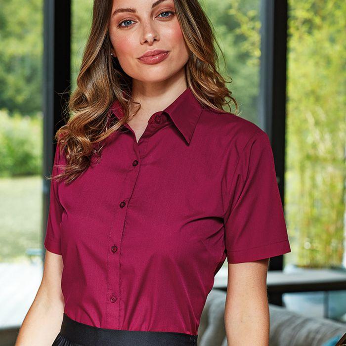 Premier - Ladies Short Sleeve Poplin Blouse - PR302