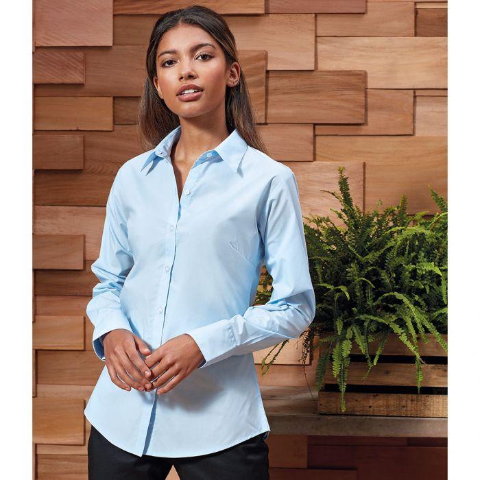 Premier - Ladies Supreme Long Sleeve Poplin Shirt - PR307