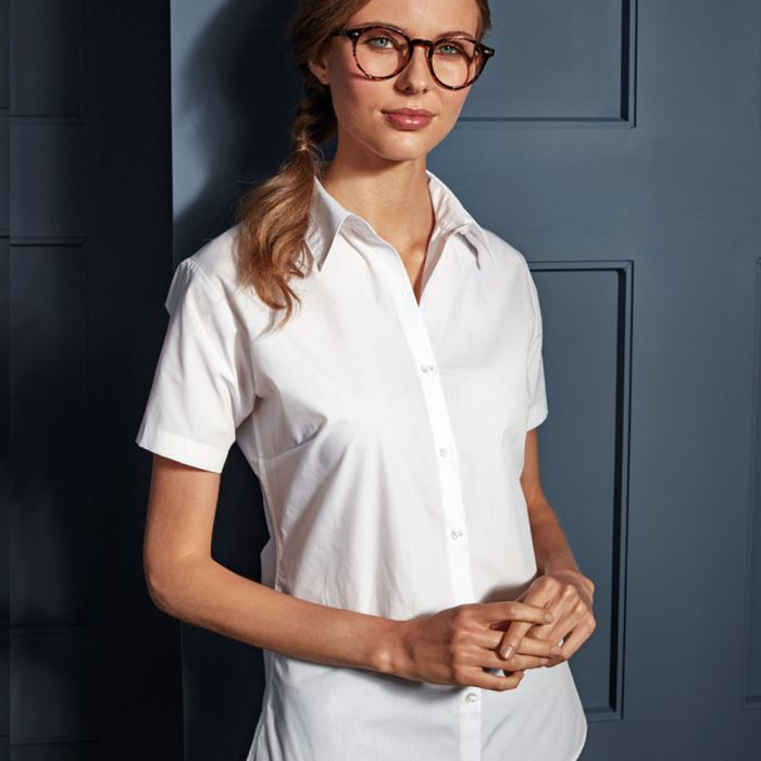 Premier - Ladies Supreme Short Sleeve Poplin Shirt - PR309