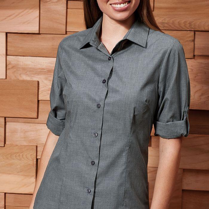 Premier - Ladies Cross-Dyed Roll Sleeve Shirt - PR317