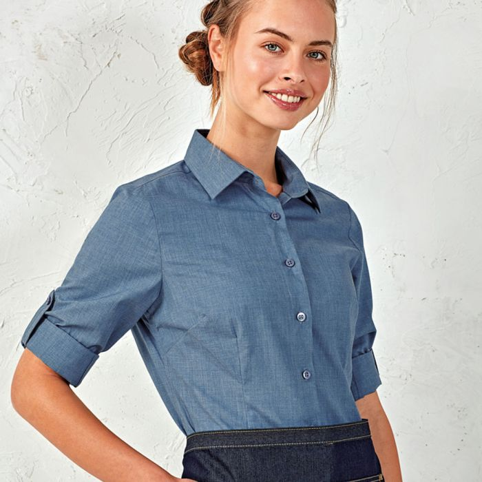 Premier - Ladies Cross-Dyed Roll Sleeve Shirt - PR317