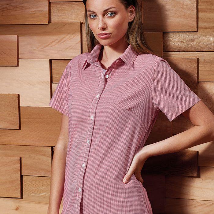 Premier - Ladies Short Sleeve Microcheck Shirt - PR321