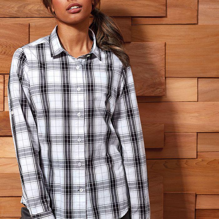 Premier - Ladies Ginmill Check Long Sleeve Shirt - PR354