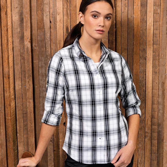 Premier Workwear Ginmill Check Cotton Long Sleeve Shirt
