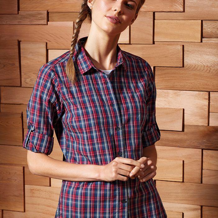 Premier - Ladies Sidehill Check Long Sleeve Shirt - PR356