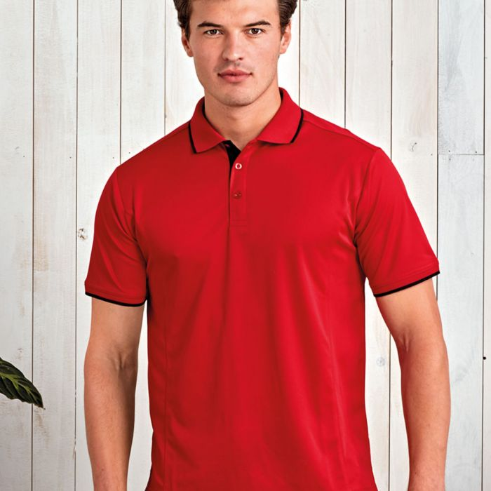 Premier - Contrast Coolchecker Polo Shirt - PR618
