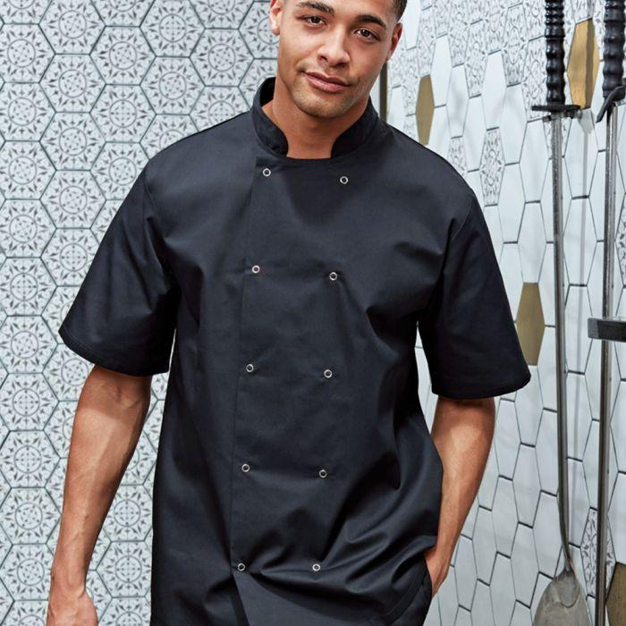 Premier - Unisex Short Sleeve Stud Front Chef's Jacket - PR664