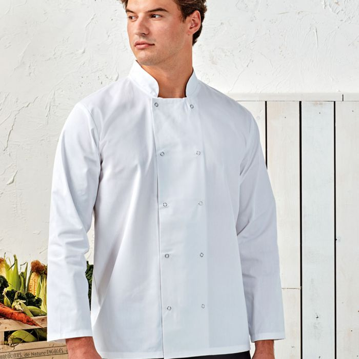 Premier - Unisex Long Sleeve Stud Front Chef's Jacket - PR665